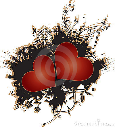 Two Red Hearts on Grunge Background Vector