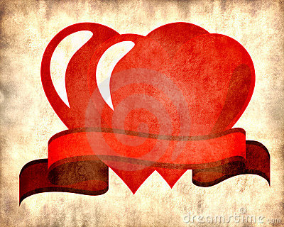 Two red hearts on parchment background