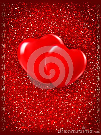 Two red hearts on red background.