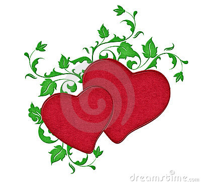 Two Red Hearts with Vines