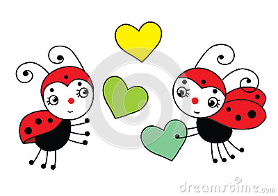 Two Ladybugs In Love Holding Flower Together Royalty Free Stock ...