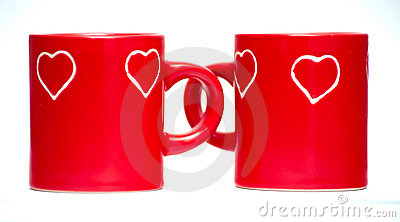 Two red love heart mugs