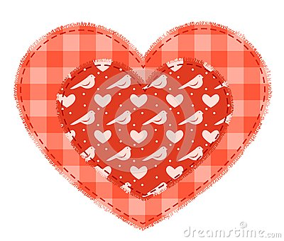 Two red patchwork hearts