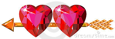 Two red ruby hearts struck by Cupid arrow