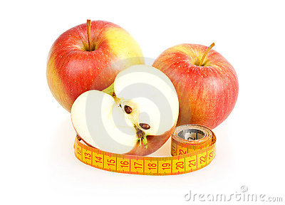 Two Red Sliced Apples and Measuring Tape
