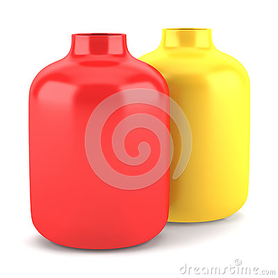 Two red and yellow ceramic vases isolated on white