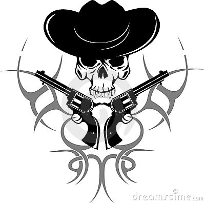 Two revolvers and  skull in  hat