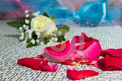 Two rings on the petals of roses