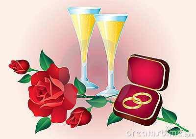 Two rings, roses and glasses.