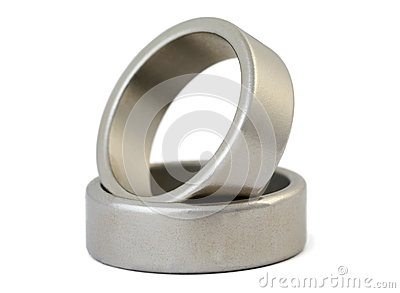 Two rings of silvery metal