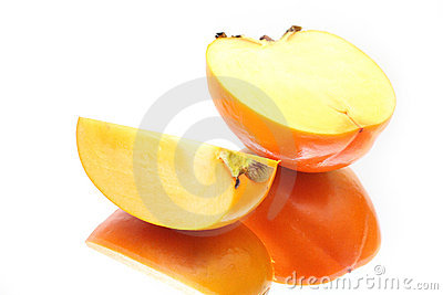 Two ripe slices of a persimmon