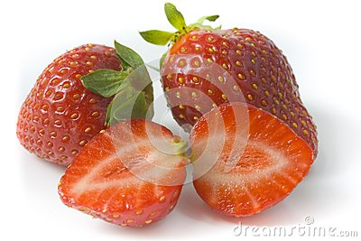 Two ripe strawberries and two segments