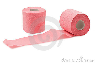 Two rolls of toilet paper on white background