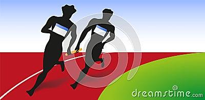 two runner run for relay race