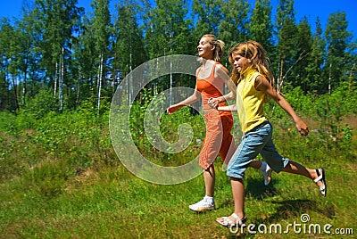 Two running girls