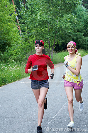Two running woman