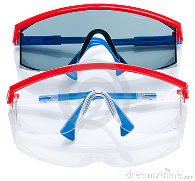 Two safety glasses isolated