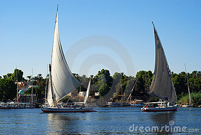 Two sail boats on Nile river, Aswan