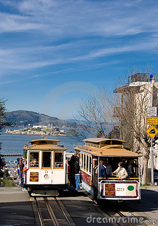 Free Two San Francisco Cablecars With Alcatraz In The Background Royalty Free Stock Image - 2049886