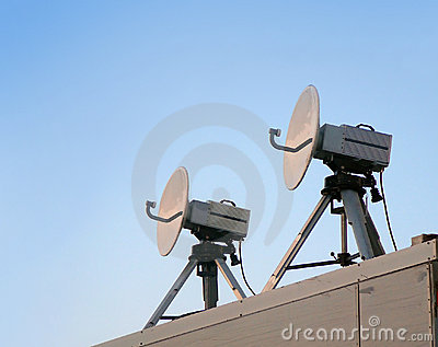 Two satellite parabolic antenna