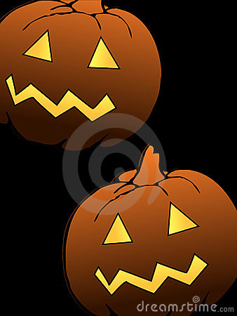 Two scary halloween pumpkins