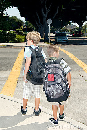 Free Two School Children At Crosswalk Royalty Free Stock Photos - 3017858