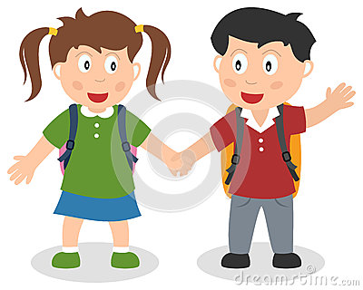 Two School Kids Holding Hands