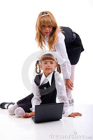 Two Schoolgirls And Laptop.