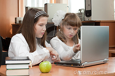 Two schoolgirls performs task using notebook