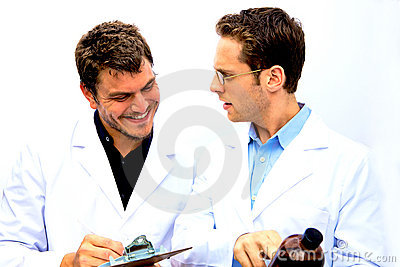 Two Scientists working together