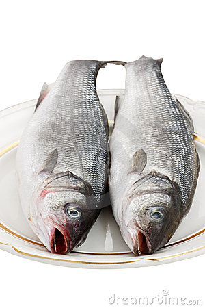 Two Seabass Fish On A Plate