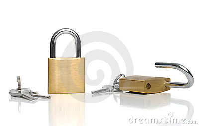 Two security gold locks and keys