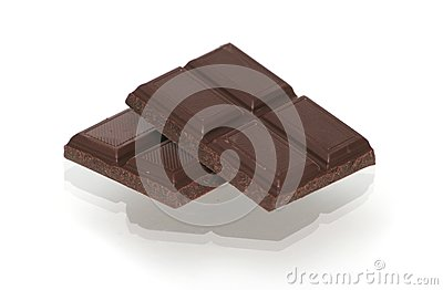 Two segments of chocolate on a white background
