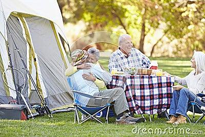 Two Senior Couples Enjoying Camping Holiday