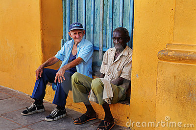 Two senior men in Trinidad street, cuba. OCT 2008 Editorial Photo