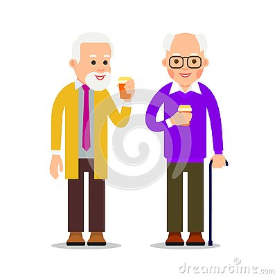 Free Two Senior Men With Canes Stand And Drink Coffee. Pensioners Relax With Help Of Hot Drinks. Businessmans With Cup Of Coffee During Stock Images - 139264174