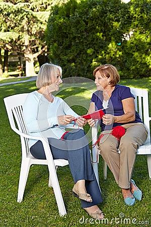 Free Two Senior Women Knitting Royalty Free Stock Image - 29195516