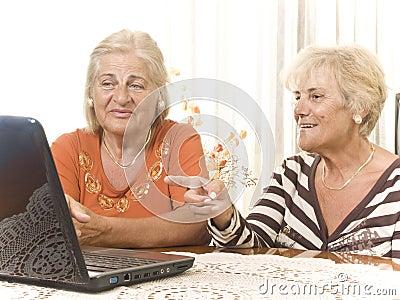 Two Senior Women with laptop