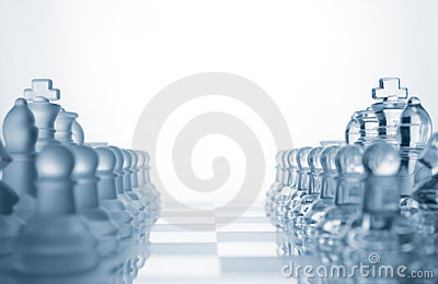 Two sets of glass chess armies