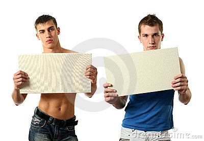 Two Sexy Men Showing a Copy Space Blank Billboard