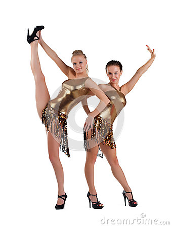 Two sexy women posing in gold go-go costume
