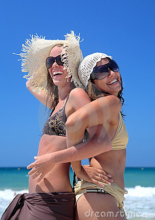 Free Two Sexy Young Girls Or Friends Playing On A Sunny Beach On Vaca Royalty Free Stock Image - 1823606