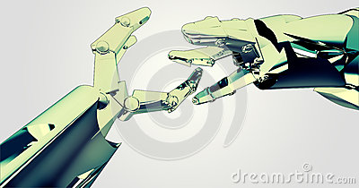 Two shaking robotic hands teamwork succes
