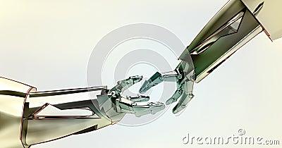 Two shaking robotic metallic hands teamwork