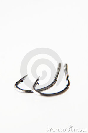 Two Shallow Focus Fish Hooks
