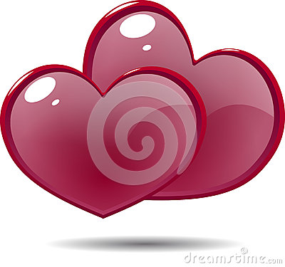 Free Two Shiny Icon Red Hearts Stock Image - 56576021