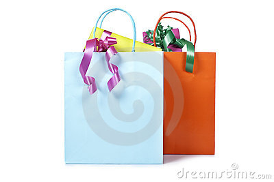 Two shopping bags with gifts inside