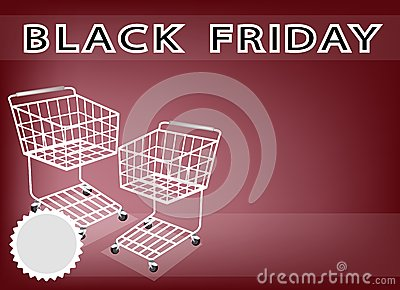 Two Shopping Cart on Black Friday Background