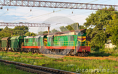 Two shunters with freight train