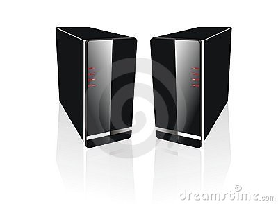 Two side by side black server